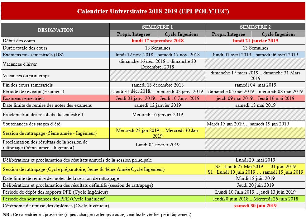 Calendrier 2019 Png.Epi Calendrier Epi Polytec 2018 2019